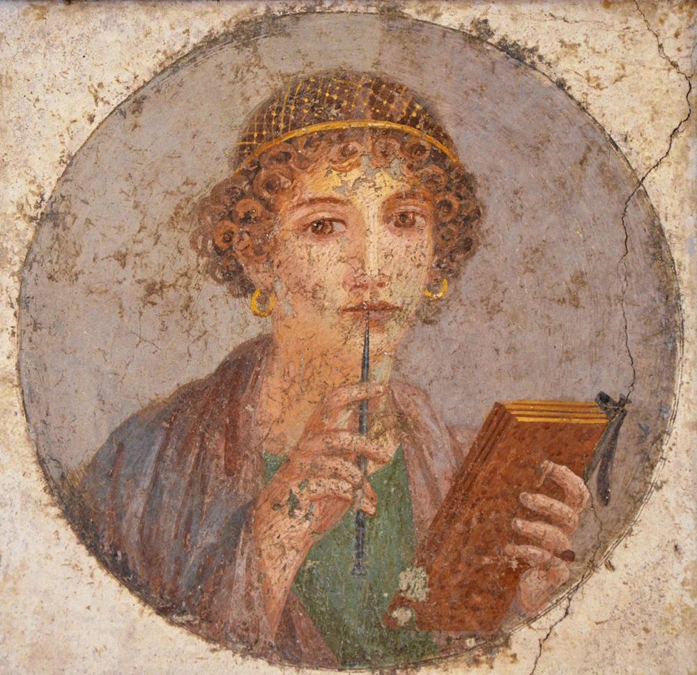 ภาพวาด แซฟโฟ น้องสาวของคนรักของโดริชา ซึ่งสตราโบเสนอว่าโดริชาและโรโดพิสคือคนเดียวกัน.
