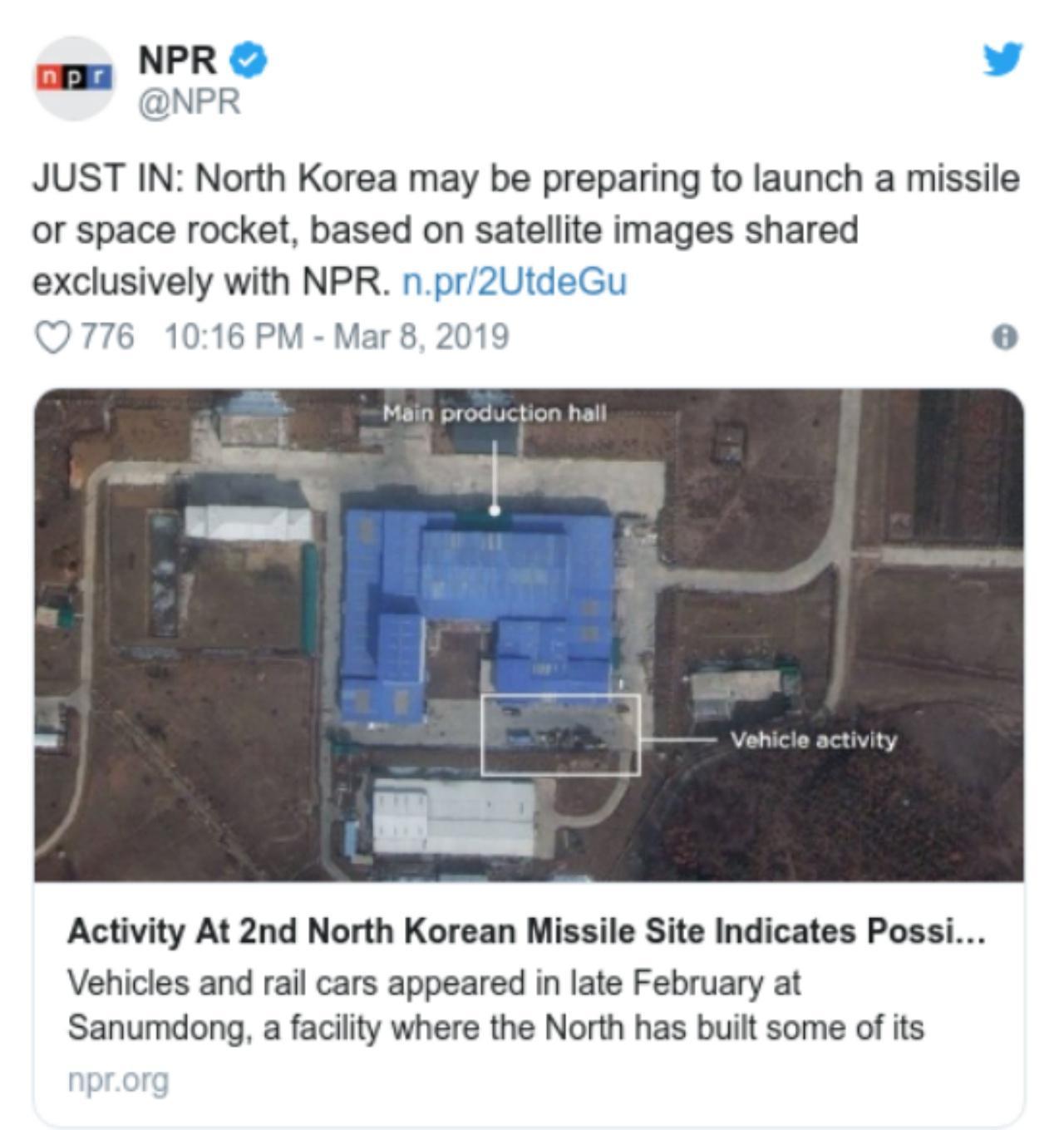 ทวิตเตอร์ของNPR  เผยแพร่ภาพถ่ายดาวเทียม พบความเคลื่อนไหวที่ศูนย์ยิงจรวด ชานัมดอง คาดเกาหลีเหนืออาจเตรียมตัวยิงขีปนาวุธครั้งใหม่