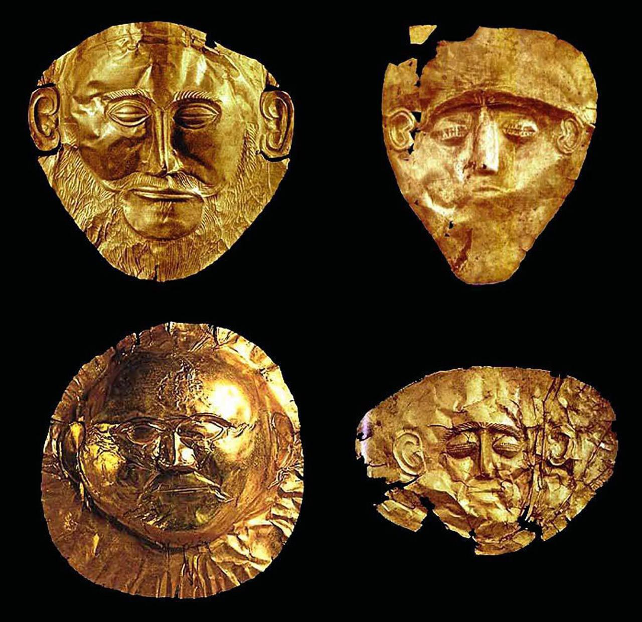 หน้ากากทองคำชิ้นอื่นๆที่ค้นพบ ในกลุ่มสุสานวงกลม เอ.