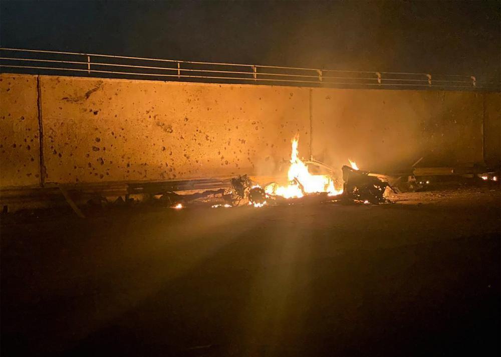 ซากรถของพลเอกโซไลมานี่ที่ถูกสหรัฐฯ โจมตีในอิรัก
