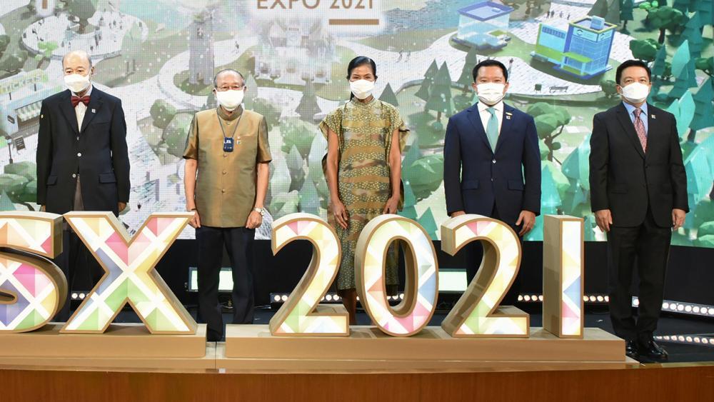 """พัฒนายั่งยืน ดร.สุเมธ ตันติเวชกุล เปิดงาน Thailand Sustainability Expo 2021 ภายใต้แนวคิด """"พอเพียง ยั่งยืน เพื่อโลก"""" โดยมี มีชัย วีระไวทยะ, ฐาปน สิริวัฒนภักดี, ดร.คงกระพัน อินทรแจ้ง และ กอบกาญจน์ วัฒนวรางกูร มาร่วมงานด้วย ที่ CW tower วันก่อน."""