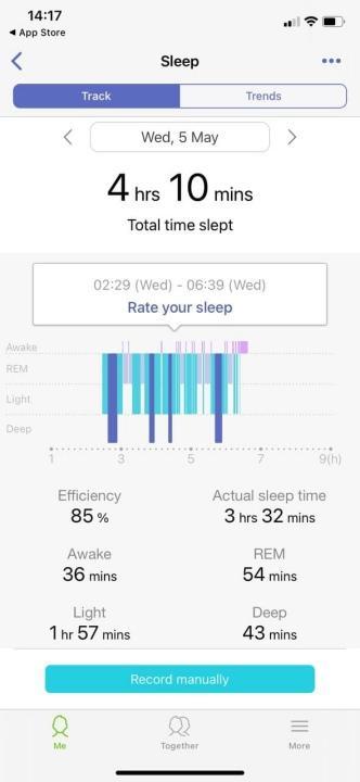 ตัวเลขการนอนในแต่ละคืน พร้อมบอกประสิทธิภาพในการนอน