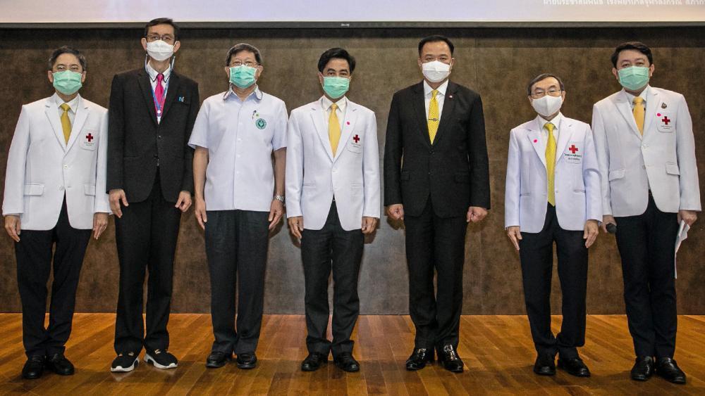 โปรดทราบ อนุทิน ชาญวีรกูล รมว.สาธารณสุข แถลงข่าวความก้าวหน้าล่าสุดของการพัฒนาวัคซีน ChulaCov 19 คณะแพทยศาสตร์ จุฬาลงกรณ์มหาวิทยาลัย โดยมี ศ.นพ.สุทธิพงศ์ วัชรสินธุ, ศ.นพ.เกียรติ รักษ์รุ่งธรรม และ นพ.นคร เปรมศรี มาร่วมแถลงด้วย ที่อาคารภูมิสิริมังคลานุสรณ์ วันก่อน.