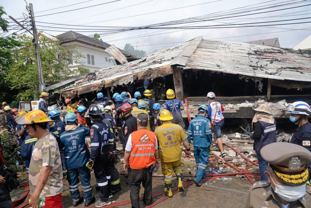 เหตุการณ์เมื่อวันที่ 3 เม.ย. 2564 เกิดเพลิงไหม้อาคารถล่ม