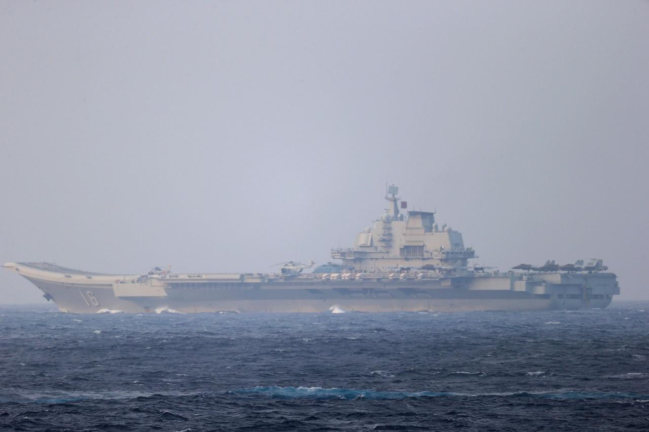 ญี่ปุ่น เผยแพร่ภาพ เมื่อ 4 เม.ย.64 เรือบรรทุกเครื่องบิน 'เหลียวหนิง' ของจีนแล่นผ่านช่องแคบ มิยาโกะ ใกล้เกาะโอกินาวา มุ่งหน้าไปยังมหาสมุทรแปซิฟิก