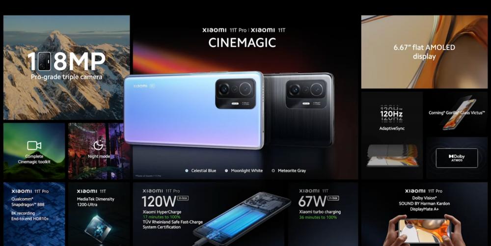 สเปกภาพรวม Xiaomi 11T Pro และ Xiaomi 11T