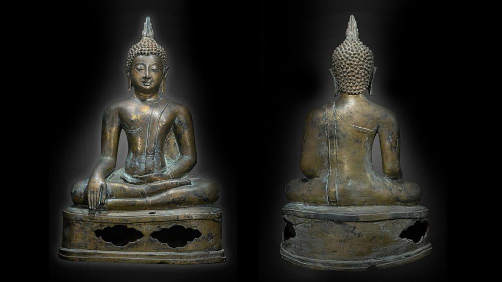 พระพุทธรูปบูชา พุทธศิลป์สมัยเชียงแสน สิงห์ ๓ หน้าตัก ๑๑