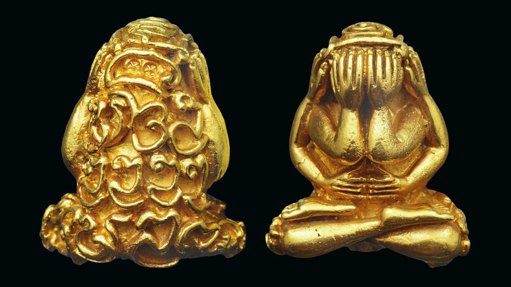พระปิดตา ชินอุตตโม เนื้อทองคำ พ.ศ.๒๕๑๘ หลวงปู่แหวน วัดดอยแม่ปั๋ง ของบอย เชียงใหม่.