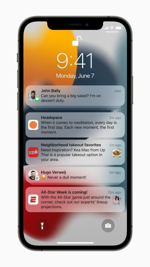 หน้าตาการแจ้งเตือนที่ถูกเปลี่ยนโฉมใน iOS 15