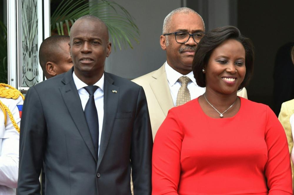 โฌเวเนล โมอิส ประธานาธิบดีแห่งประเทศเฮติ กับนาง มาร์ติน โมอิส ภริยา