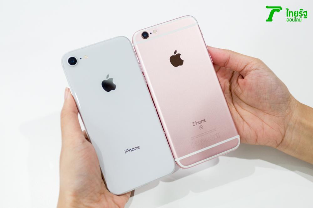ภาพด้านหลังเมื่อเปรียบเทียบไอโฟน 8 กับไอโฟน 6s