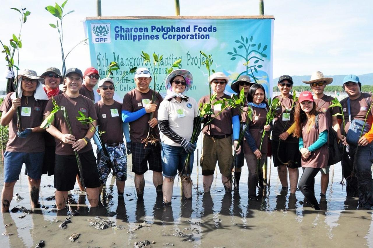 """อนุรักษ์ ผู้บริหาร บ.เจริญโภคภัณฑ์อาหาร คอร์ปอเรชั่น ฟิลิปปินส์ (ซีพี ฟิลิปปินส์) จัดกิจกรรมอนุรักษ์และฟื้นฟูป่าชายเลน ในโครงการ """"Plant Today, Reap Tomorrow"""" ปีที่ 5."""