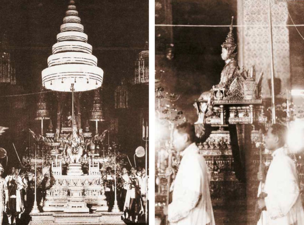 พระบาทสมเด็จพระปกเกล้าเจ้าอยู่หัว ประทับพระที่นั่งพุดตานกาญจนสิงหาสน์บนพระแท่นราชบัลลังก์ภายใต้นพปฎลมหาเศวตฉัตร โปรดเกล้าฯ ให้ผู้แทนพระราชาธิบดี ประธานาธิบดี คณะทูตานุทูต และข้าทูลละอองธุลีพระบาท เฝ้าฯ ถวายพระพรชัยมงคล ณ พระที่นั่งอมรินทรวินิจฉัย เมื่อ 25 กุมภาพันธ์ 2468