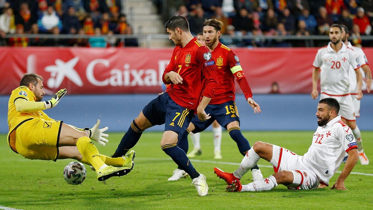 """เข้ารอบแล้ว """"สเปน"""" ไล่ถล่มมอลตา 7-0 สรุปผลคัดยูโร"""