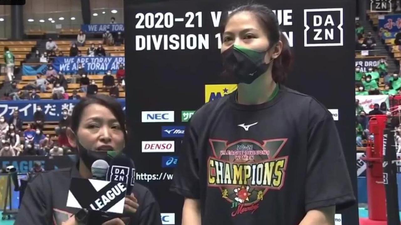 """""""ทัดดาว"""" เผยแรงใจจากแฟนลูกยาง ช่วยให้พา """"เจที"""" คว้าแชมป์ วี.ลีก ญี่ปุ่น 2020-21"""