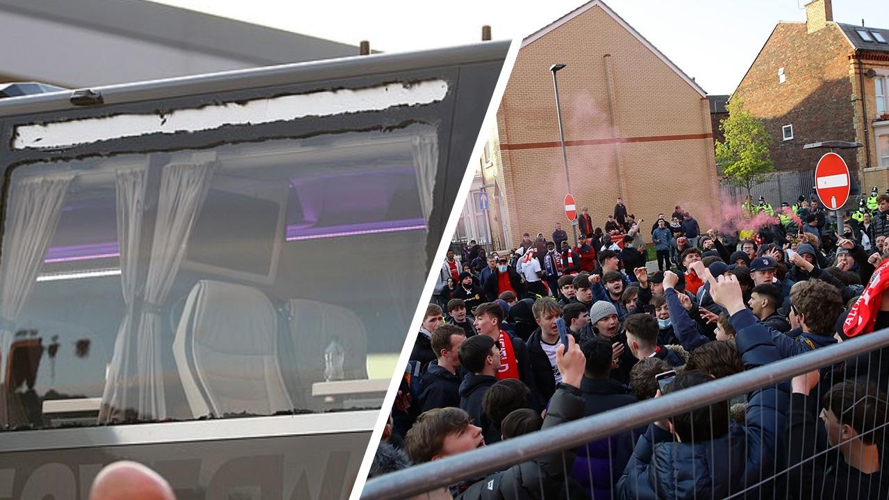 รถบัสมาดริดโดนดักปากระจก ก่อนเกมดวลลิเวอร์พูลศึก UCL